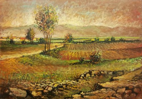 Quadro di Mariano Magnini Paesaggio di campagna - olio faesite
