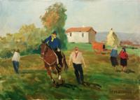Quadro di V. De Robertis  Paesaggio contadino