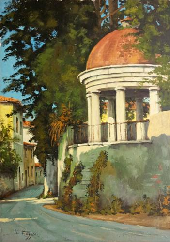 Quadro di  Ruggeri Gazebo a Bellosguardo - olio tela