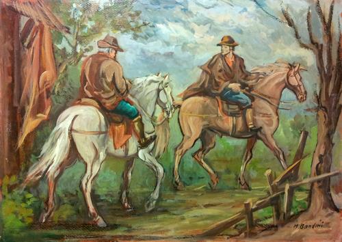Quadro di M. Bandini Figure a cavallo - olio cartone
