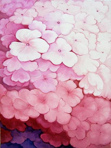Quadro di Vanessa Katrin Fiori rosa - olio tela