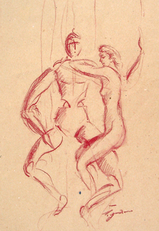 Quadro di Luigi Pignataro Figura - sanguigna carta
