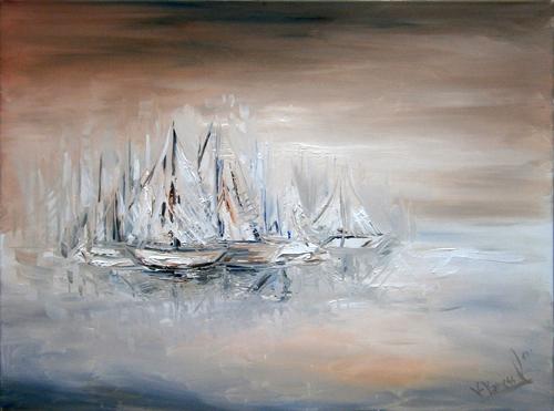 Quadro di Vanessa Katrin Marina con vele - olio tela