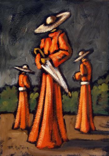 Quadro di Francesco Matera Cardinali con l'ombrello - olio cartone