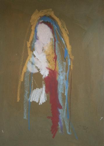 Quadro di Gino Tili Madonna con bambino - mista carta