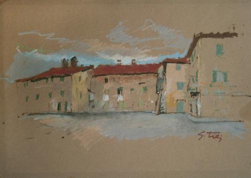 Quadro di Gino Tili Paesaggio - mista carta