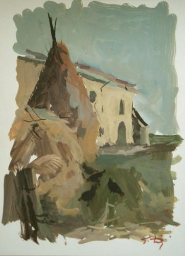Quadro di Gino Tili Paesaggio agreste - olio carta