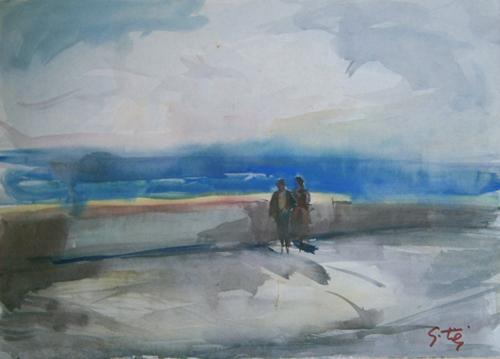 Quadro di Gino Tili Marina - acquerello carta