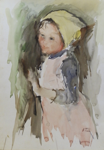 Art work by Gino Tili Bambina - watercolor paper