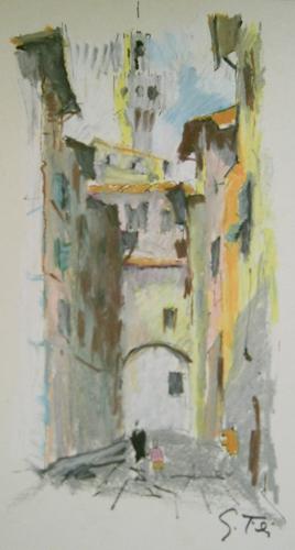 Quadro di Gino Tili Scorcio di Firenze - Pittori contemporanei galleria Firenze Art