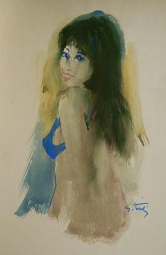 Quadro di Gino Tili Ritratto di ragazza - Pittori contemporanei galleria Firenze Art