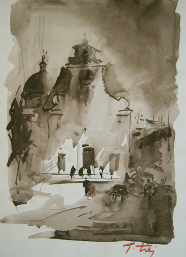 Art work by Gino Tili Santo Spirito - watercolor paper