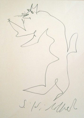 Quadro di Silvio Loffredo Cane - pennarello carta