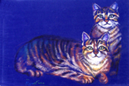 Art work by Luigi Pignataro Due Gattini - pastel paper