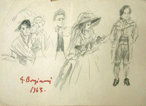 Quadro di Guido Borgianni Figure dal Settecento - lapis carta