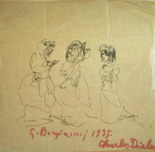 Quadro di Guido Borgianni Signore - penna biro carta gialla
