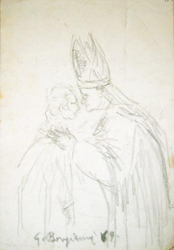 Quadro di Guido Borgianni Papa con giovine - lapis carta