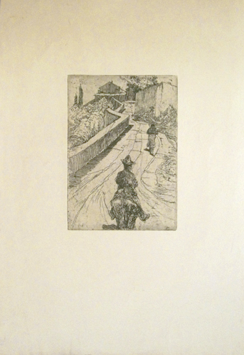 Quadro di Giovanni (Giò) Fattori Paesaggio con figura a cavallo - Pittori contemporanei galleria Firenze Art