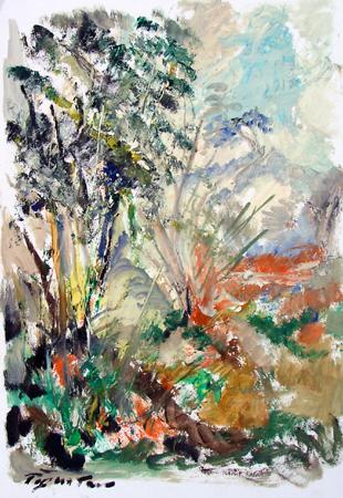 Quadro di Luigi Pignataro Paesaggio toscano - olio carta