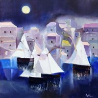Work of Lido Bettarini - Vele di notte oil canvas
