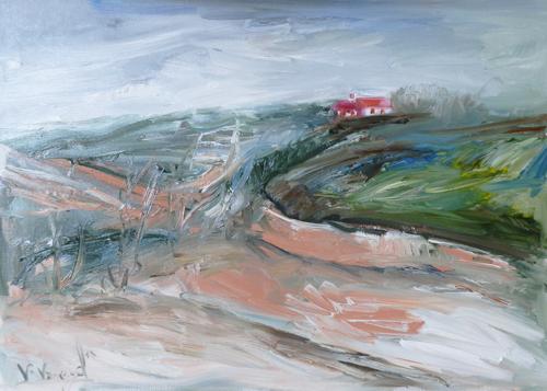 Quadro di Vanessa Katrin Paesaggio di campagna - olio tela