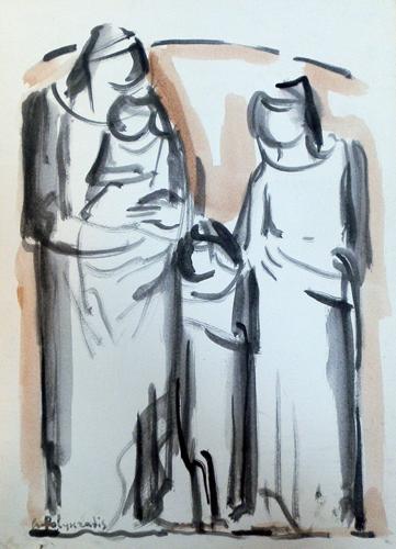 Quadro di Giorgio Polykratis Figure - acquerello carta