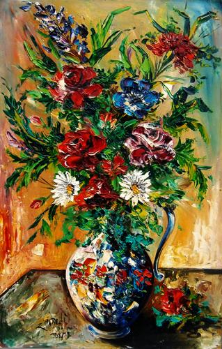 Quadro di  Zimarelli (da Trieste) Vaso di fiori - olio faesite
