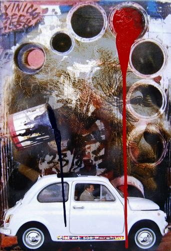 Quadro di Andrea Tirinnanzi Vernice trainante in caduta controllata - mista tela