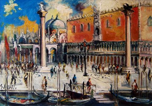 Quadro di Emanuele Cappello Palazzo del Doge (Venezia) - olio tela