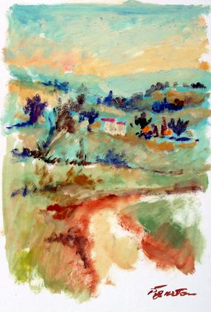 Art work by Luigi Pignataro Paesaggio - oil paper