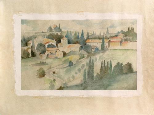 Quadro di firma Illeggibile Paesaggio di campagna - acquerello carta