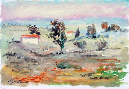 Quadro di Luigi Pignataro Paesaggio - olio carta