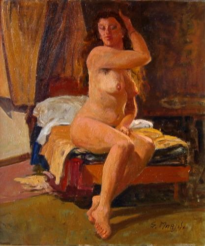 Art work by Graziano Marsili Modella nello studio - oil canvas