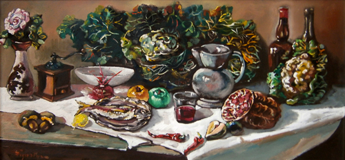 Art work by Luigi Pignataro Natura Morta - oil table