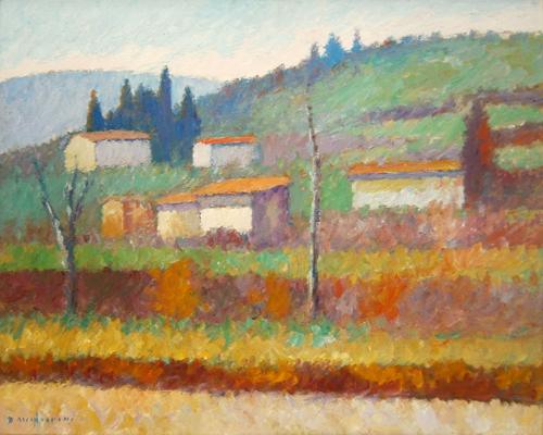 Quadro di Dino Migliorini Paesaggio collinare - Pittori contemporanei galleria Firenze Art