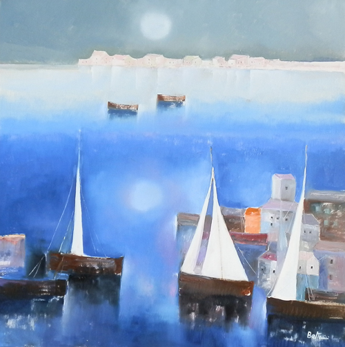 Art work by Lido Bettarini Marina con barche - oil canvas