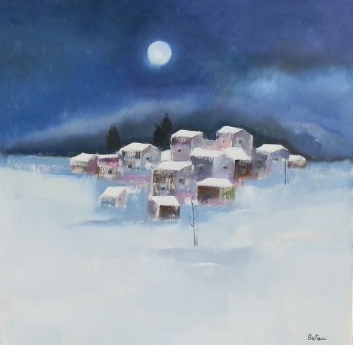 Quadro di Lido Bettarini Nevicata - olio tela