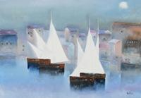 Quadro di Lido Bettarini - Marina con vele olio tela