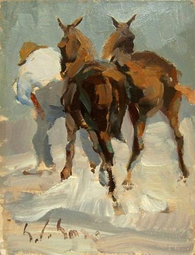 Quadro di Gino Paolo Gori Verso il maniscalco - olio tavola