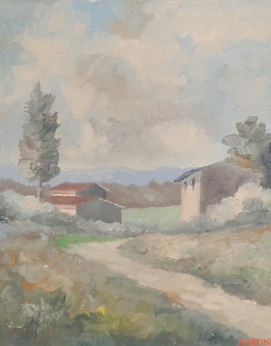 Quadro di Alviero Tatini Paesaggio - olio tavola