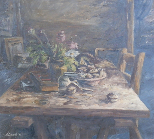 Art work by Saverio Manetti Natura Morta - oil table