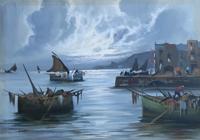 Quadro di G. Lami - Marina olio tela