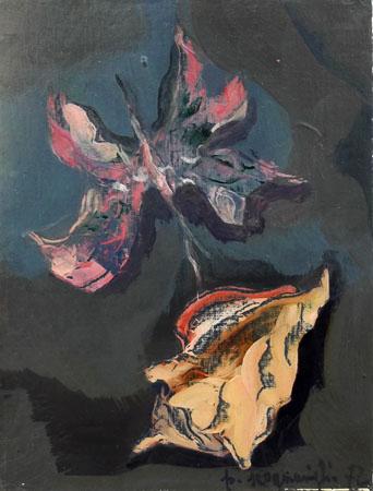 Quadro di Pina Scognamiglio Fiore e conchiglia - olio cartone telato