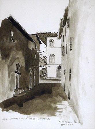Quadro di Paolo Baroncelli Crocicchio via Mosca-Neri San Remigio - acquerello carta