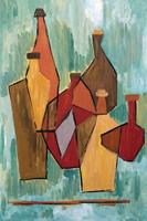 Quadro di M. Bonciani - Composizione di bottiglie olio tela