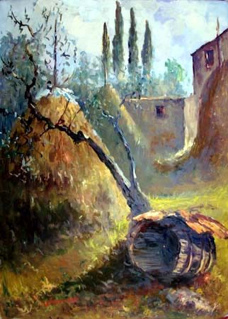 Art work by E. Nerucci Casolare di campagna - oil canvas