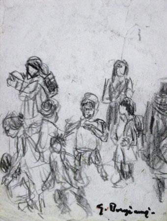 Quadro di Guido Borgianni Verso la scuola - carboncino carta