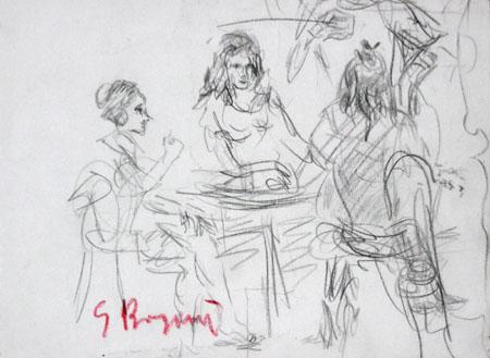 Art work by Guido Borgianni Figure al tavolo - matita paper
