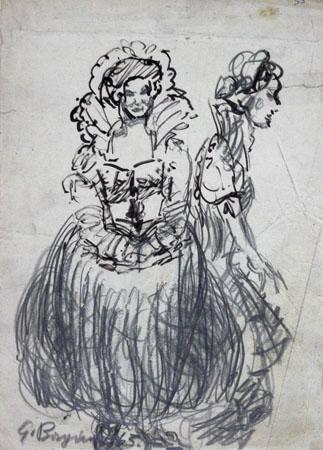 Quadro di Guido Borgianni Donna di altri tempi - mista carta