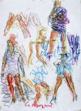 Art work by Guido Borgianni Figure di donne - pastel paper